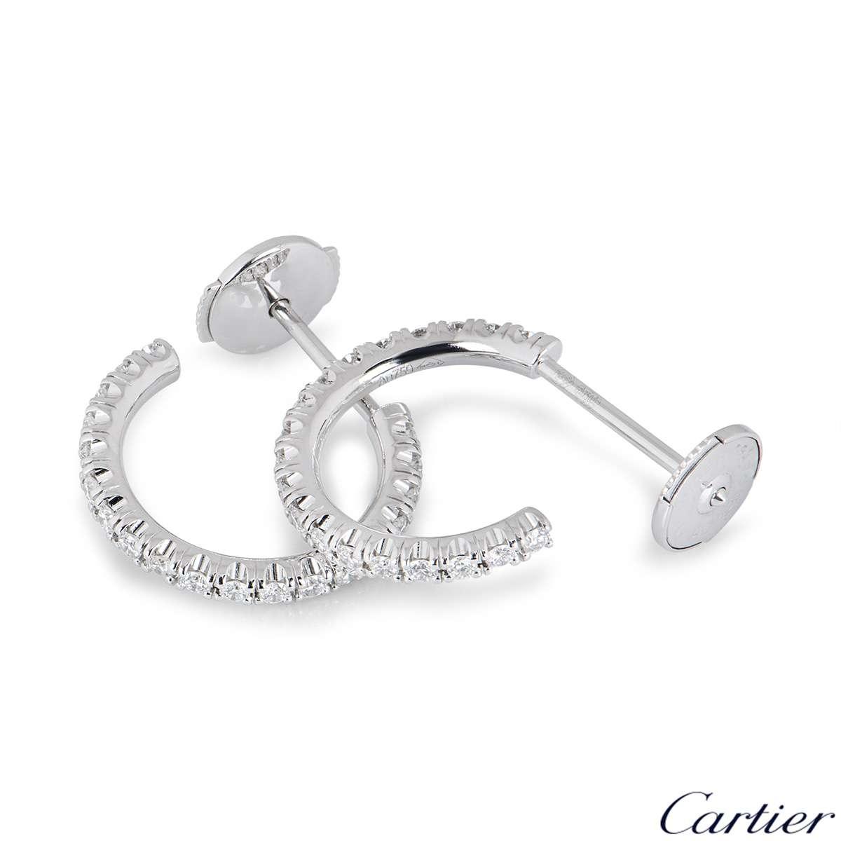 Cartier White Gold Etincelle Diamond Hoop Earrings B8301226